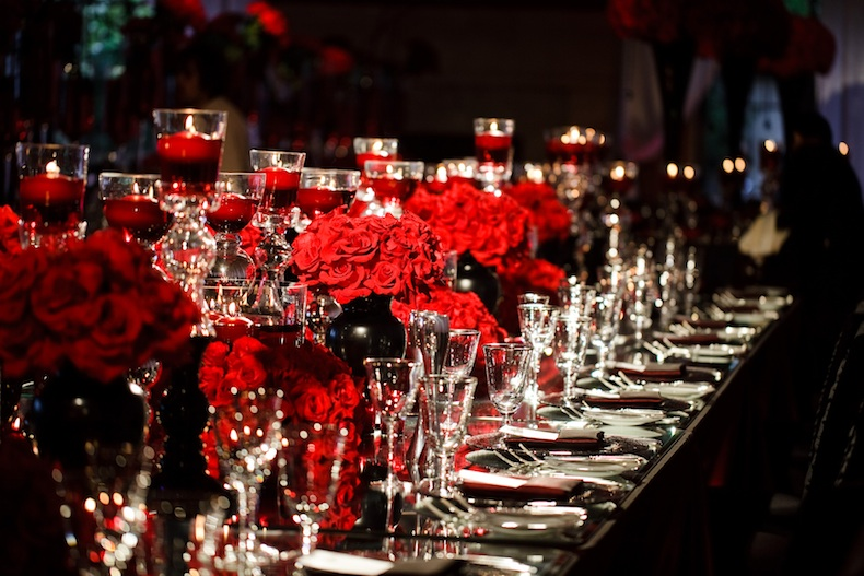 Red White And Black Elegance Transformed The Pelican Ballroom Into A
